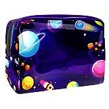 Bolsas de Aseo Galaxia Espacio Planeta Impermeable Neceser Avion Unisexo Neceseres de Viaje Bolsa de Cosmético Neceser PVC Impermeable Organizador de Viaje Durable 18.5x7.5x13cm