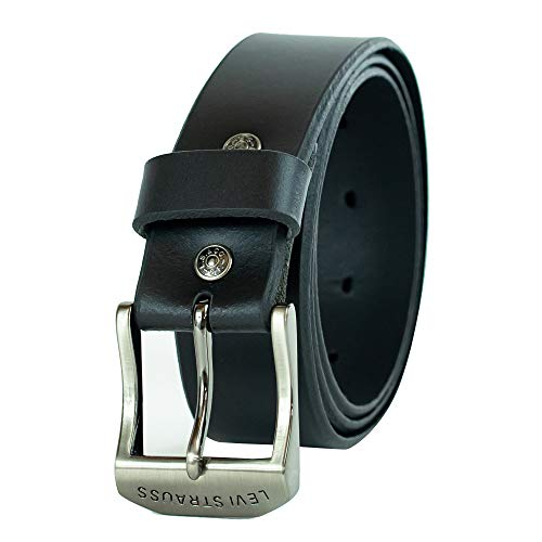 Levi's Men's 100% Leather Belt  with Prong Buckle, Black, 56