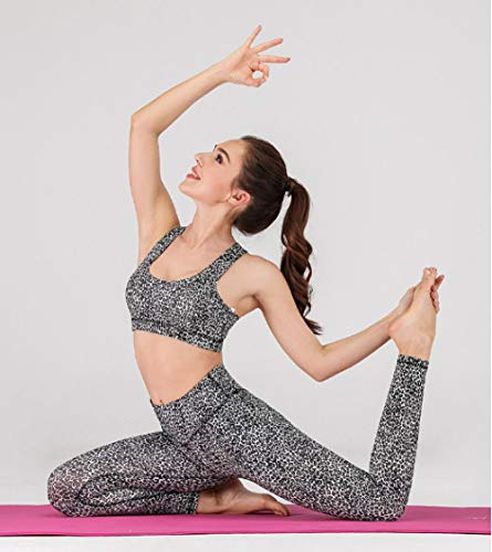 FDSHOSFH - Ropa de fitness para mujer, ropa de yoga, ropa de deporte, sujetador y pantalón, Flower Leopard, S