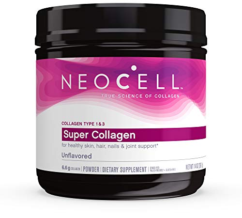 NeoCell Super Collagen Powder, 14 Ounces, Non-GMO, Grass Fed, Paleo Friendly, Gluten Free, Collagen Peptides Types 1 & 3 for Hair, Skin, Nails and Joints (Packaging May Vary), 60 Servings