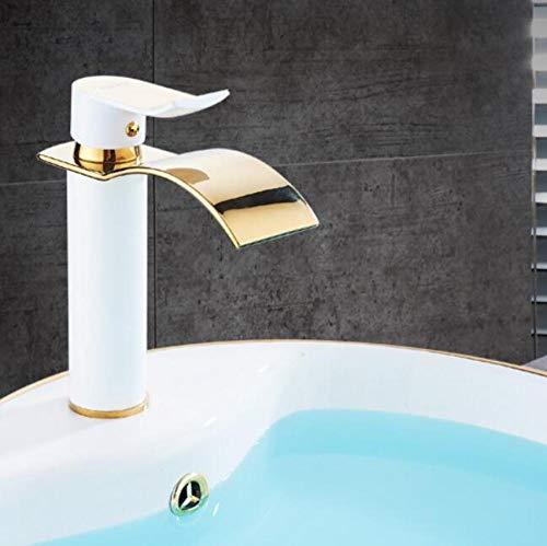 Grifo de cascada de oro rosa grifo de baño de latón grifo de lavabo frío y caliente blanco y dorado S41,O2QHICWM7EYNN