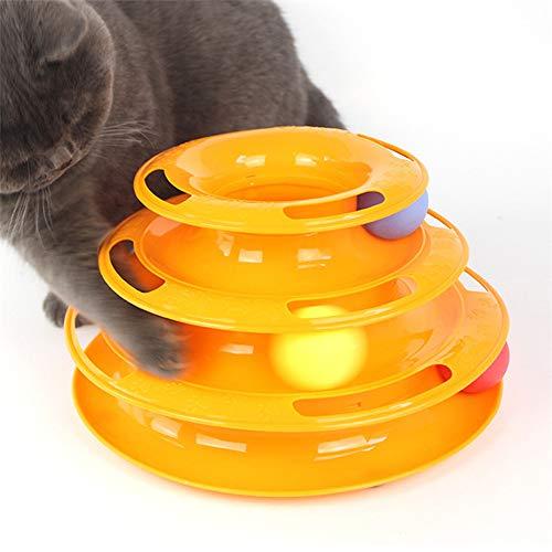 FWY Pet Cat Turntable, DREI-Schicht-Turntable Pet Puzzle Spiel-Track, ist förderlich für Kätzchen Intelligenz Wachstum Kätzchen Spielzeug, Abs Kunststoff-Material sicher und Nicht-giftig