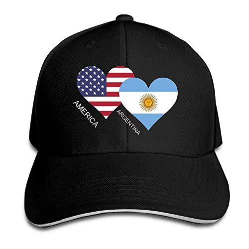 Presock Gorra De Béisbol,Gorro/Gorra Unisex America Argentina Flag Heart Adult Adjustable Snapback Hats