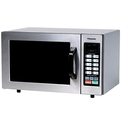 Panasonic Countertop Commercial Microwave Oven with 10 Programmable Memory, Touch Screen Control and Bottom Energy Feed, 1000W, 0.8 Cu. Ft. (Stainless Steel), 5""