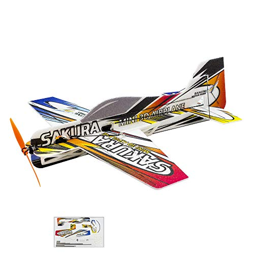 Viloga Mini 3D RC Plane Kit Sakura Aerobatic Fly Aircraft, 420mm Wingspan Durable EPP Foam RC Plane Drone, DIY Electric 4CH Remote Control Airplane RC Aeroplane for Adults Beginners Indoor Parkflyer