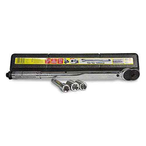 UNITEC Drehmomentschlüssel, Einstellbar von 40 bis 210 Nm, Antrieb 1/2' Vierkant, mit Stecknüssen 17/19 mm und Verlängerung