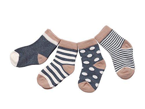 DEBAIJIA DEBAIJIA 4 Paare Babysocken Baumwolle 6-12 Monate Mädchen Junge Lieblich Socken Dünn Weich Bunt - Marineblau