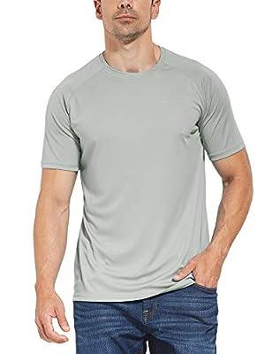 BALEAF Men's UPF 50+ Outdoor Running Workout Short-Sleeve T-Shirt Gray Size M