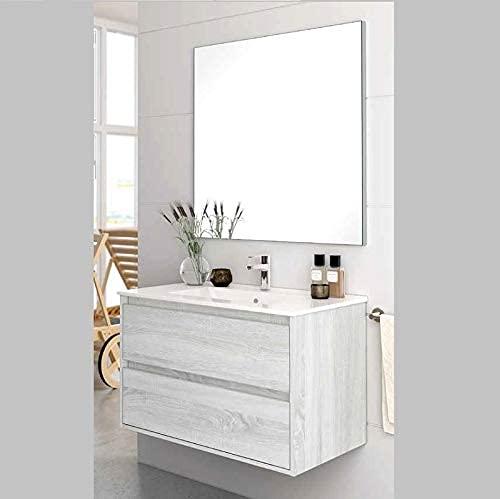 Aquareforma | Mueble de Baño con Lavabo y Espejo | Mueble Baño Modelo Balton 2 Cajones Suspendido | Muebles de Baño | Diferentes Acabados Color | Varias Medidas (Hibernian, 100 cm)