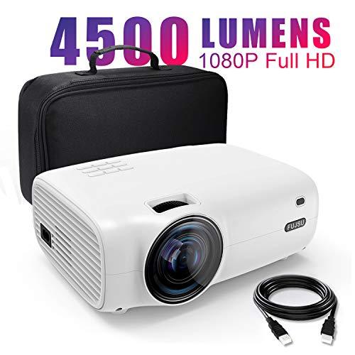 Mini Video Projektor 50000 Stunden, Beamer 1080P Full HD 4500 Lumen LCD Mini Beamer für Heimkino Unterhaltung Spiele Reisen, unterstützt HDMI VGA AV USB Micro SD (Mit Tragetasche)