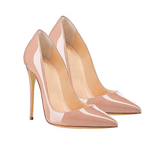 Happyyami Szpiczasty nosek wysoki obcas kobiety lakierowana skóra seksowne czółenka wsuwane szpilki 12 cm klasyczne wysokie obcasy buty na imprezę bankiet ślub dressup (morelowy), - Morela - 37 EU