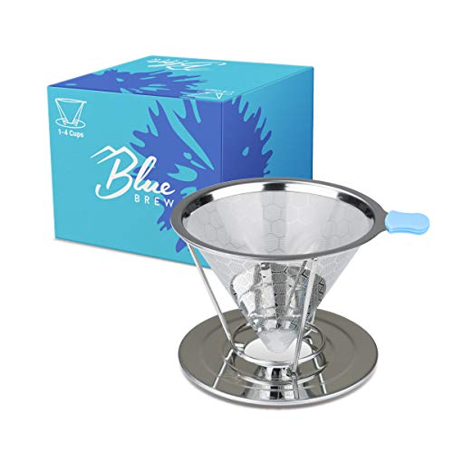 Blue Brew Stainless Steel Double-Filtered Pour Over Coffee Dripper, with Separated Stand, Silver