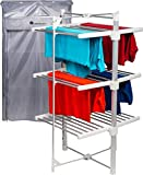 Homefront Electric Heated Clothes Airer Dryer Rack Indoor Deluxe EcoDry 3-Tier Drier with Complimentary Zip Up Cover for Even Faster Drying - Energy Efficient, Costs Less Than 4p Per Hour