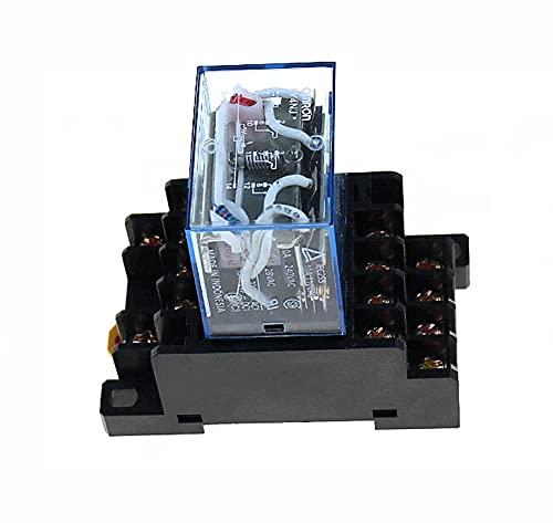 LGFCOK LY4NJ HH64P AC220V 14PIN Bobina de relé de alimentación 4PDT con base de enchufe PTF14A (tamaño: AC220V 1 juegos)