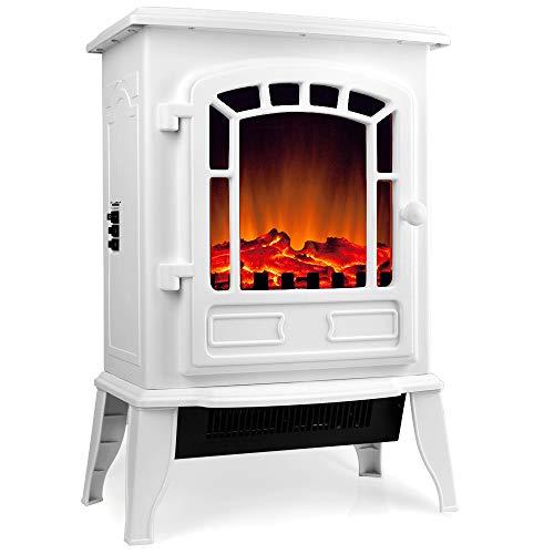 Deuba Elektro Kamin Elektrischer mit Heizung LED Kaminfeuer Effekt 2000W weiß Flammeneffekt Heizer Ofen weiß