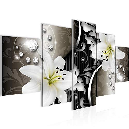 Bilder Blumen Lilien Wandbild Vlies - Leinwand Bild XXL Format Wandbilder Wohnzimmer Wohnung Deko Kunstdrucke Braun 5 Teilig - MADE IN GERMANY - Fertig zum Aufhängen 208053a