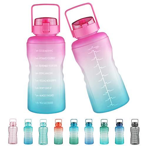 Justfwater Botella de agua sin BPA con marcador de tiempo y pajita, botella deportiva de 3,78 L con asa para Fitness, Gimnasio, Oficina, Pesca, Actividades al Aire Libre