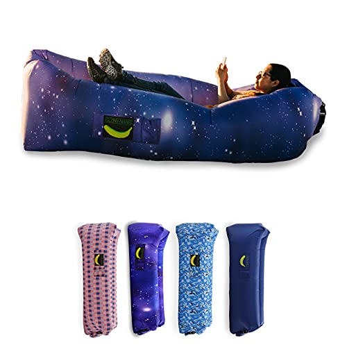 Rukket Sports Glow-Nana Inflatable Lounger, Blow Up Air Chair & Couch for Lounging, Camping, Beach, Festival, Sofa Hammock for Adults & Kids, Portable Wind Furniture Loungers (Glow Galaxy)