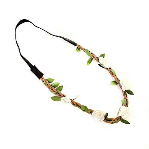 Butterme Damen Mädchen Rose Blumen-Stirnband Hochzeit Haarkranz Blumenkrone Festival Hochzeit Haarband Kopfband Haarkranz BOHO Blumenstirnband (Weiß)