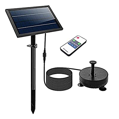 Lewisia Battery Backup Solar Fountain Pump with LED Lighting and Remote Control Submersible Solar Water Pump Kit for Pool Koi Pond Garden Bird Bath 5W