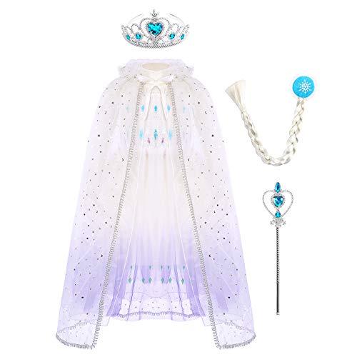 Vestido de princesa Elsa Anna para nia, disfraz de reina de las nieves, disfraz de princesa para carnaval, cumpleaos, cosplay, cosplay, disfraz de invierno, tallas 98-140 blanco/morado 4-5 Aos