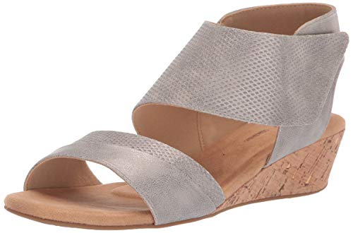 Rockport Women Calia 2 Piece Sandal Wedge, Taupe, 8 M US