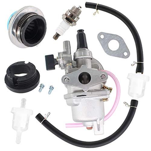 AISEN Vergaser & BenzinSchlauch mit Filter Luftfilter Zündkerze für 2 Takt 47cc 49cc Pocketbike Dirtbike Mini AtV Quad