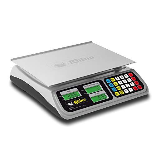 Rhino BAR-8RS. Bascula de Mostrador con Transferencia de Datos vía USB 40 kg / 2 g. Plato de acero inoxidable grado alimenticio. Unidades Kilogramos y Libras. Compatible con los principales Programas de Punto de Venta en el mercado.