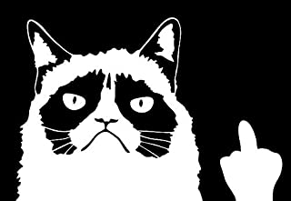 Keen Grumpy Cat Meme Flippin' You Off Funny Decal | 6 X 4 in | White