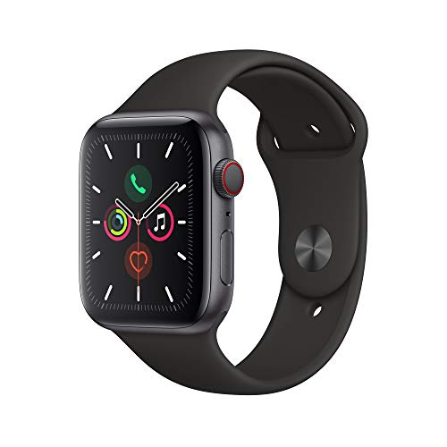 Apple Watch Series 5 (GPS + Cellular, 44 mm)  Aluminio en Gris Espacial - Correa Deportiva Negro