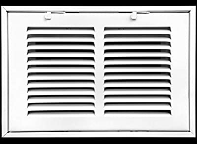 """14"""" X 8 Steel Return Air Filter Grille for 1"""" Filter - Removable Face/Door - HVAC Duct Cover - Flat Stamped Face - White [Outer Dimensions: 16.5 X 9.75]"""