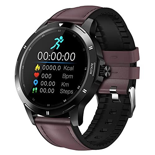 QFSLR Reloj Inteligente Rastreador Ejercicios Frecuencia Cardíaca Presión Arterial Control De Temperatura del Sueño Contador De Actividad Rastreador IP67 Impermeable Android iOS Smartwatch,Dark Brown