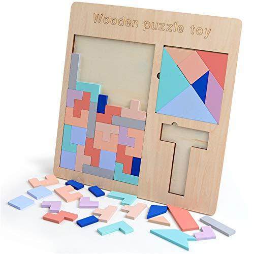 Puzzles de madera Rompecabezas a juego de madera Palabra cuadrada Tablero colorido Inteligencia del cerebro Juguetes inclinados geométricos Rompecabezas de madera Tangram Niños y niños Rompecabezas Ed