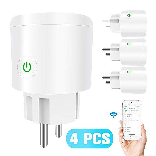 YYBF Smart Plug, Zócalo Inteligente Inteligente Vida App, Enchufe De La UE Plug Inteligente Alexa Google Inicio De Control por Voz, con Estadísticas De Energía