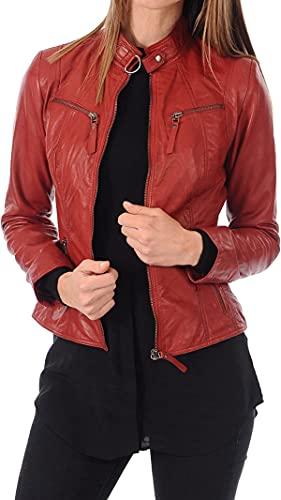 HiFacon Chaqueta de piel auténtica para mujer, estilo retro, estilo retro, color rojo, Chaqueta de piel auténtica, S