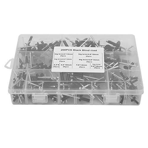 Kit de remache ciego, práctico remache ciego de aluminio Equipo de fitness Superficie de remache de metal (negro)