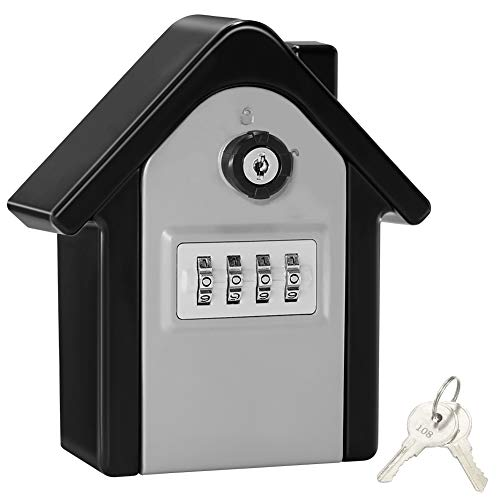 Key Lock Box,Extra Large Key Safe Outdoor Large Capacity Key Box Wall Mounted Key Safe Storage Box with 4 Digit Combination Lock & Emergency Key for Indoor Outdoor(Black)