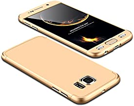 Case Samsung Galaxy S6 360 Degrees protective Cover + tempered glass film, 3 in1 Full Body protection Bumper hard phone Case Ultra-thin Skin Case,for Samsung Galaxy S6 (Gold)