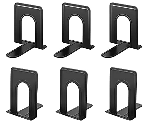 JIKIOU Bookend Supports Metal Book Ends Universal Economy Bookends Non-Skid Heavy Duty Book Ends Pack for Shelves Library Kitchen Home Classroom School Office, 6.69 x 4.9 x 4.3in, 3 Pair/6 Piece,Black