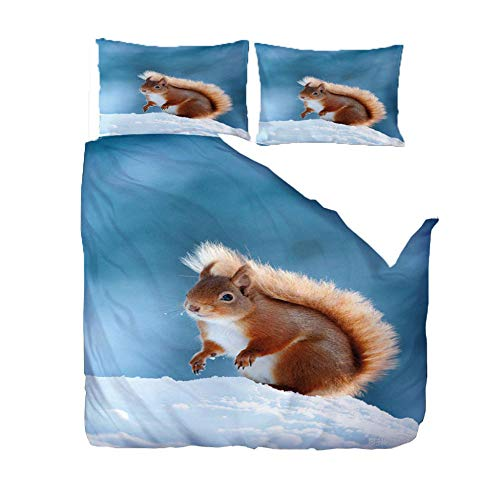 PANDAWDD Silky Soft Microfiber Duvet Cover Set Super King - 220x260cm Snow squirrel animal, 3 PCS with Pillow Case Bedding Set, Smooth Feeling with Zipper, Hypoallergenic & Breathable Quilt Cover Set