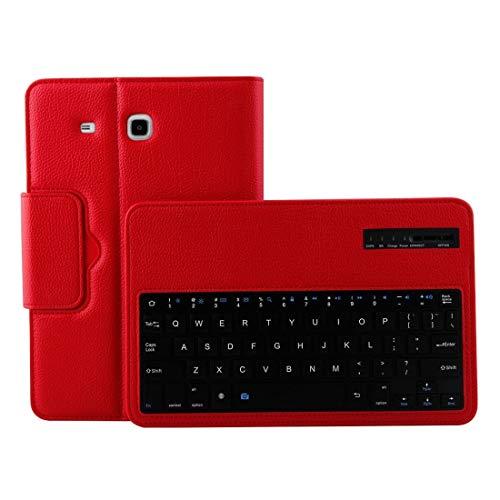 LISUONG MCDC ACDD para la pestaña Galaxy E 9.6 / T560 2 en 1 Funda de Cuero de la Textura de Litchi de la Textura del Teclado de Bluetooth Desmontable con el Titular (Negro) (Color : Red)