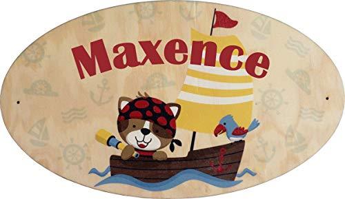 Plaque de Porte en bois personnalisée pour une Chambre d'enfant Bateau Pirate - Le prénom de la plaque en bois est personnalisable - cadeau de naissance personnalisé bébé Décoration