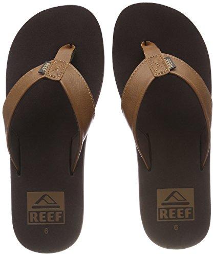 Reef Men's Sandal Twinpin | Comfortable Men's Flip Flop With Vegan Leather Upper, Brown, 12