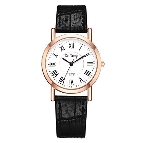 TWISFER Elegante Einfache Damen-Uhr Armband Uhr Analog Klassisch Römische Ziffern Quarz-Uhr Armbanduhr Schwarz Braun Rot Weiß Leder-Armband