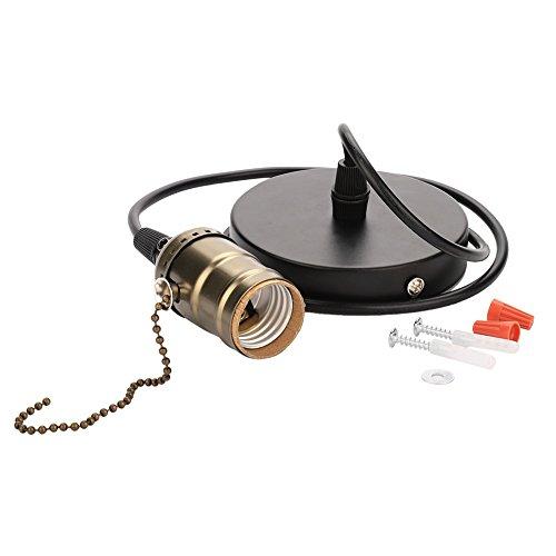 DEWIN casquillo colgante - casquillo luz con enchufe Titular de la luz pendiente de la vendimia E27, con el techo conmutador de extracción Cadena Base de la lámpara Montada (Bronze)