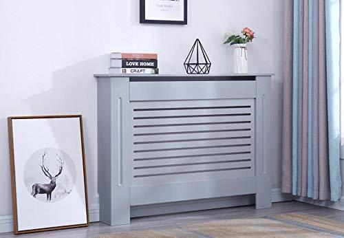 YAKOE Moderner Heizkörperverkleidung Holz MDF Wandschrank in 4 Größen, Engineered, Grau, Medium