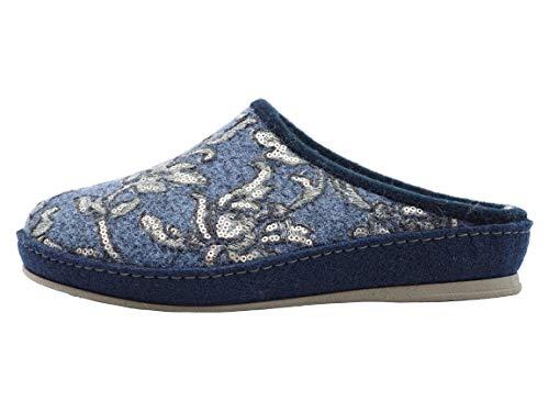 Schawos Filz Hausschuh für Damen, Modell Paula, Made in Germany, mit anatomisch geformtem Fußbett und aktiver Fersendämpfung (blau, Numeric_38)