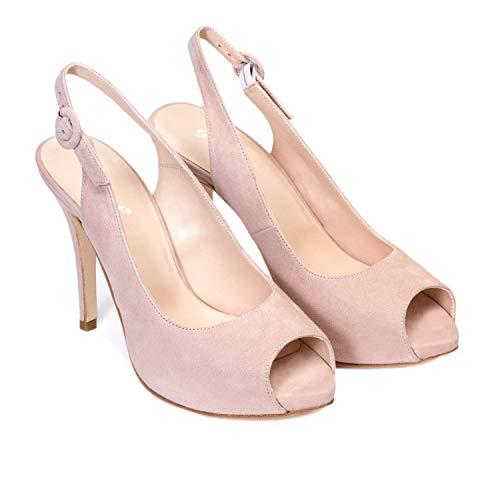 Gennia Camila - Chice, Bequeme Damen-Slings - Peeptoes - 10 cm Stiletto - 1 cm Plateausohle - Elegant Sommerschuhe für Festliche Anlässe und Partys - Leder, Nude Make-up Pink 39 EU