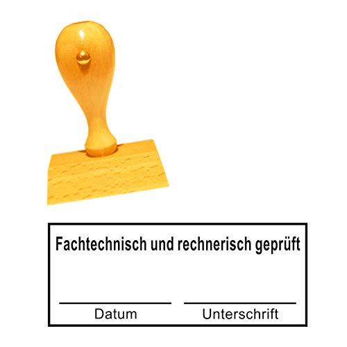 Stempel Bürostempel « FACHTECHNISCH UND RECHNERISCH GEPRÜFT » mit Datum Unterschrift - Abdruckgröße ca. 60 x 25 mm - Buchungsstempel Kontierungsstempel - für Büro, Verwaltung, Buchhaltung, Steuerbüro