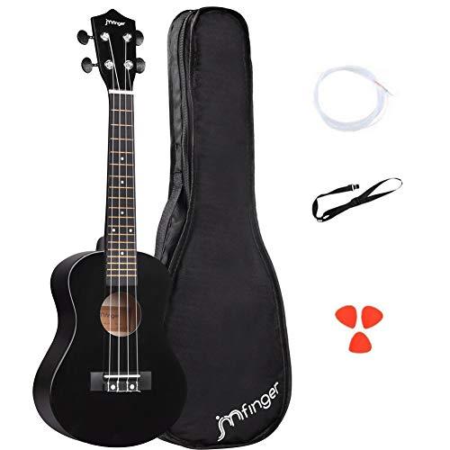 JMFinger Concert Ukulele Beginner 23 Inch, Wooden Ukelele Instrument Kit with Gig Bag, Extra Strings, Picks, Strap, Black
